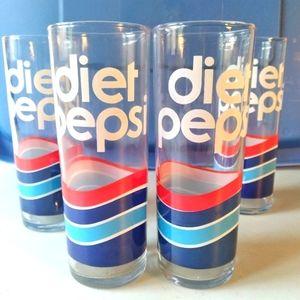 Vintage diet pepsi tall glasses, set of 4